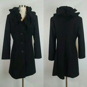 Rinascimento Black Cappotto Coat Made in Italy L bf761177597